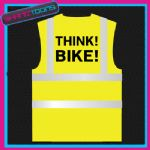 THINK BIKE BIKER CYCLIST  HI VIZ VEST ADULTS SIZES